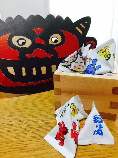 鬼の仮面と福豆