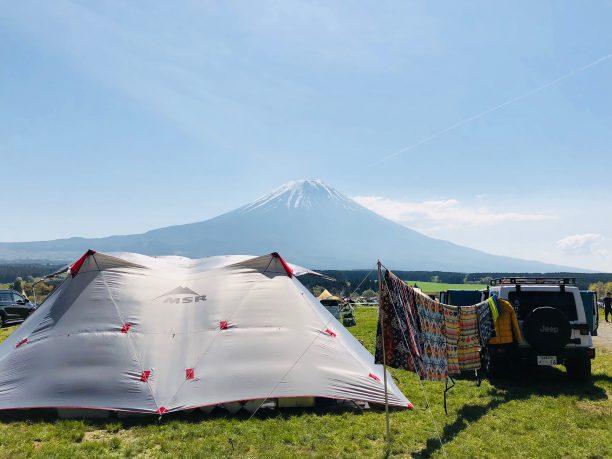 富士山とテント