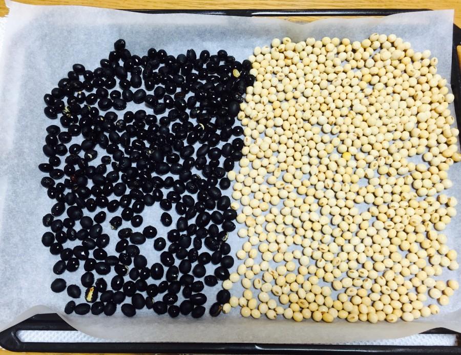 クッキングシートを敷いたオーブン皿に、①の大豆を並べ180℃で20分加熱します。