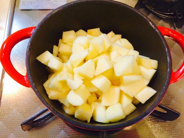 りんごを1cm角に切り分け、小鍋に入れて火にかけます。