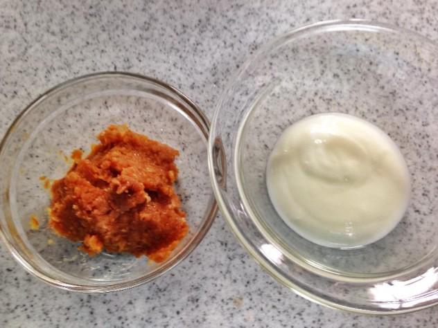 ヨーグルト味噌汁準備