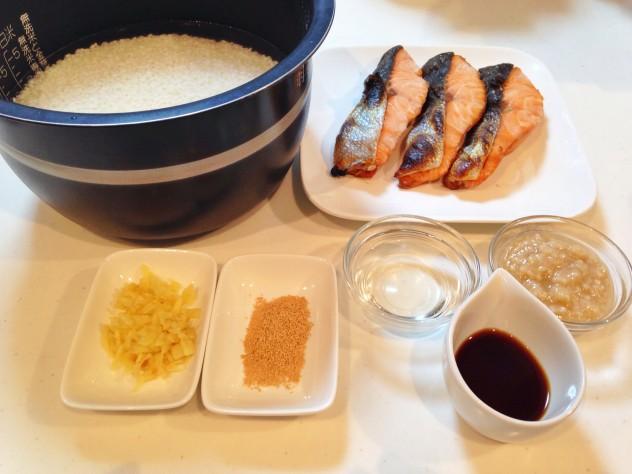 秋サケご飯の準備