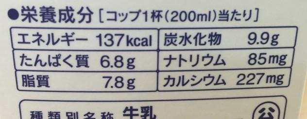 牛乳の成分