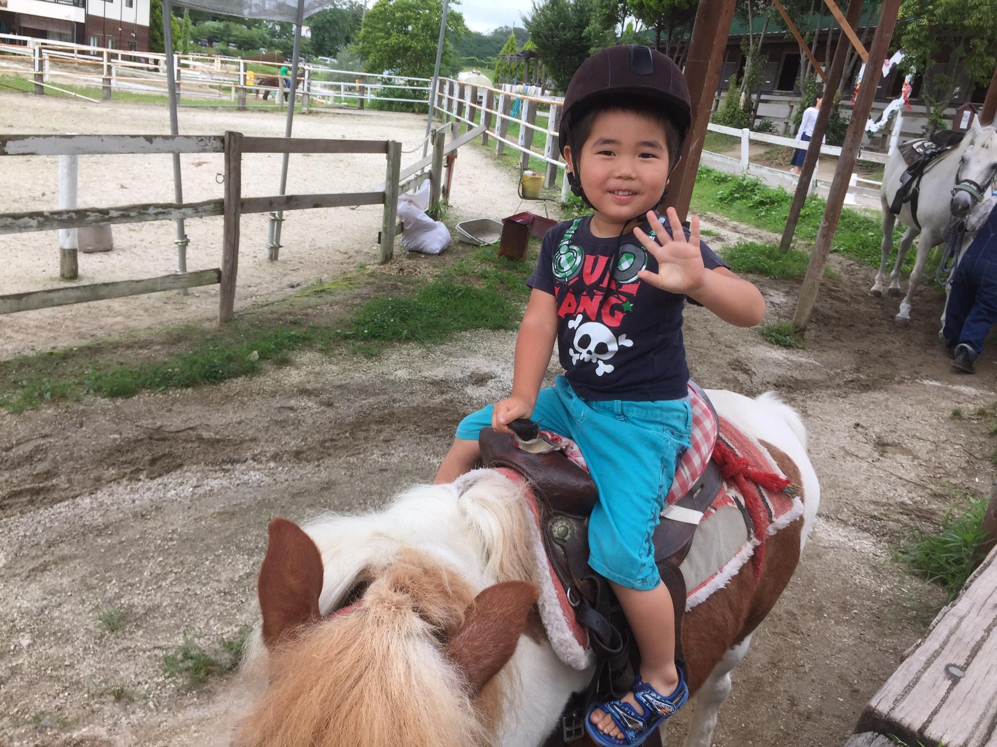 せんちゃん、馬に乗る