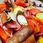 【レシピ:塩麹】トマトやベーコンの旨味エキスと塩麹オリーブオイルが野菜に染み込み、贅沢な一品に♫「ぎゅうぎゅう焼き」