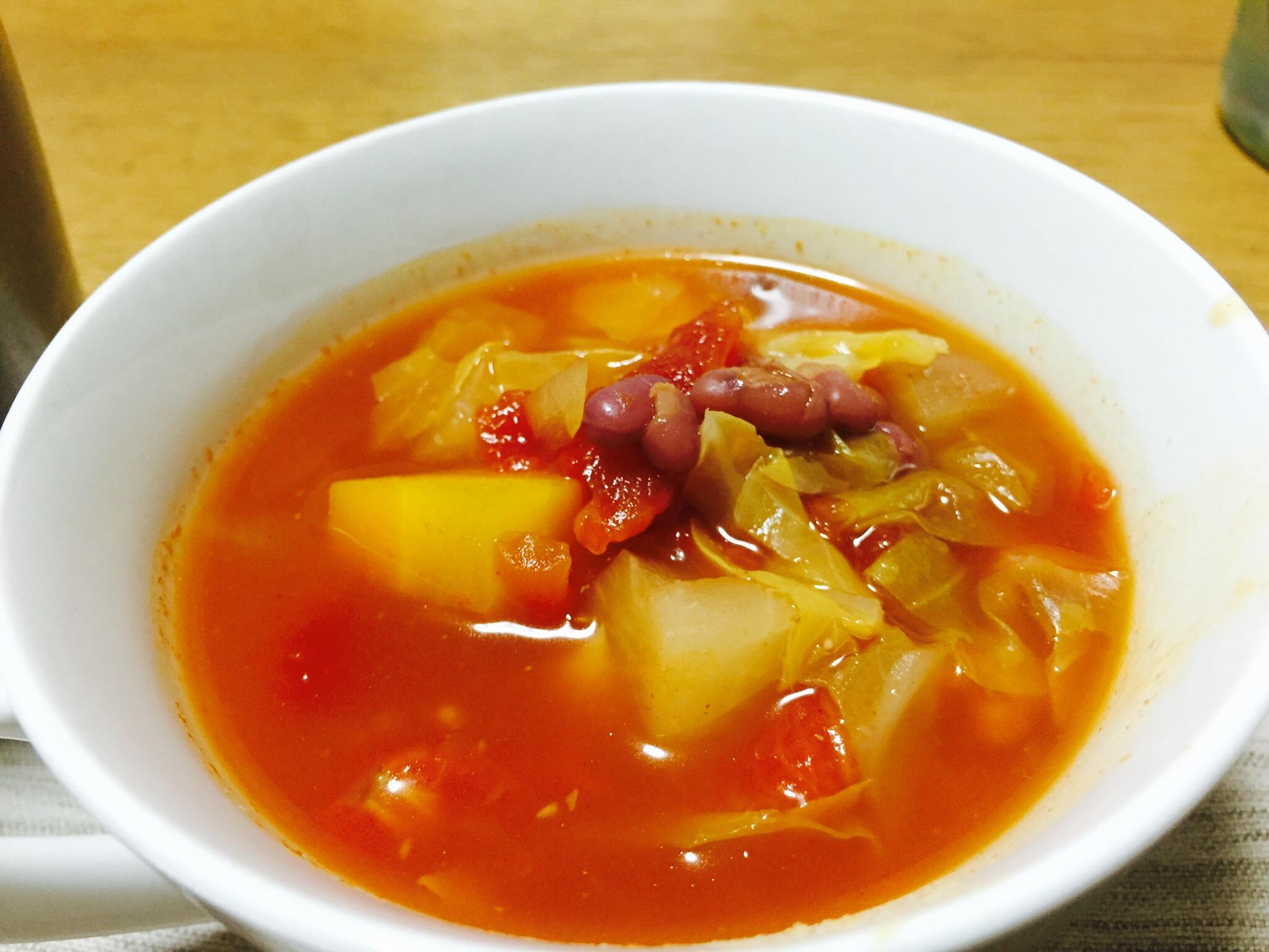 スープにストック小豆をトッピング