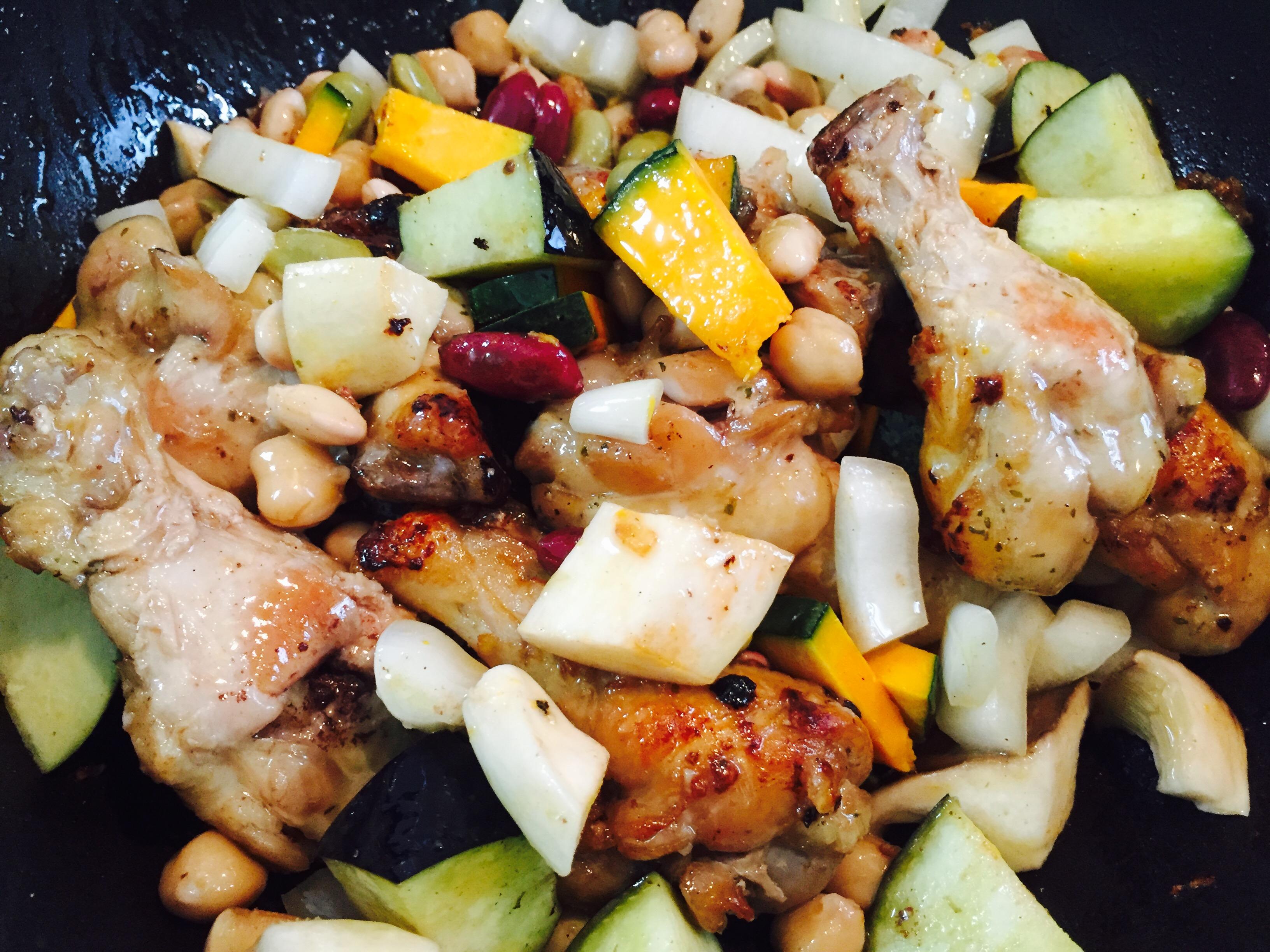野菜・豆を加える