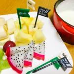【レシピ:ヨーグルト】クリームチーズの濃厚さと爽やかなヨーグルト、果物の甘酸っぱさが一度に楽しめる(^_−)−☆女子会やちょっとしたパーティにもおすすめ☆「デザートフォンデュ」