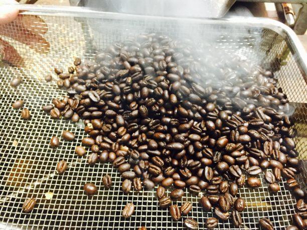 コーヒー豆を冷ます