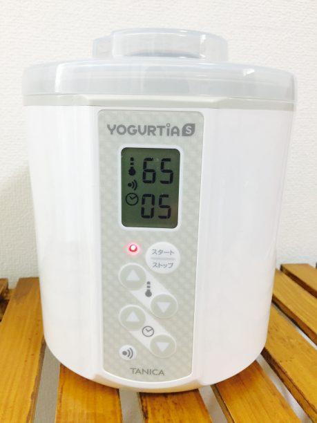 ヨーグルティアに入れ、温度65℃、5時間にセットしてスタート!
