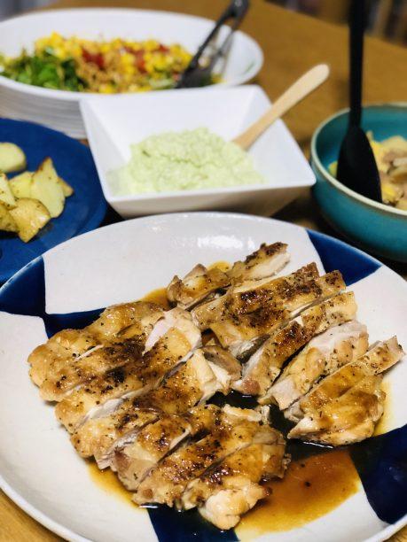 お皿に盛り付けした鶏肉