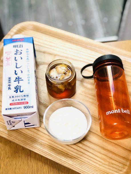 牛乳、レモンシロップ、ヨーグルト