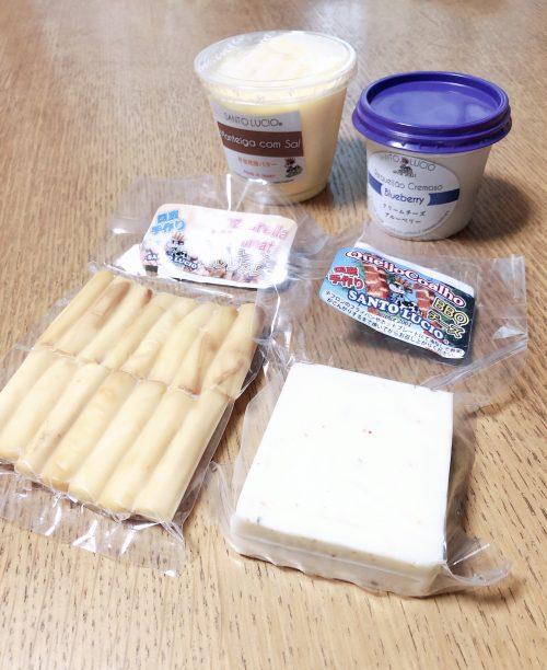 発酵バター、ブルーベリーのクリームチーズ、燻製さけるモッツァレラチーズ、BBQチーズ