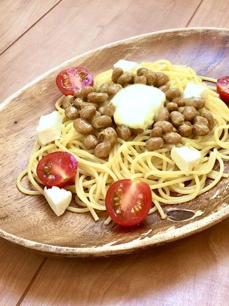 チーズ納豆パスタの完成