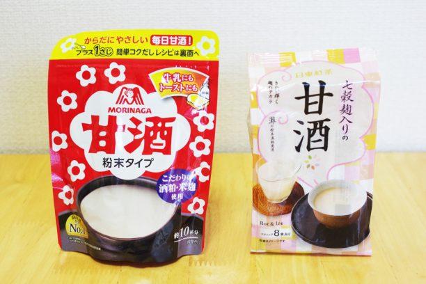 森永甘酒粉末タイプ、日東紅茶七穀麹入りの甘酒