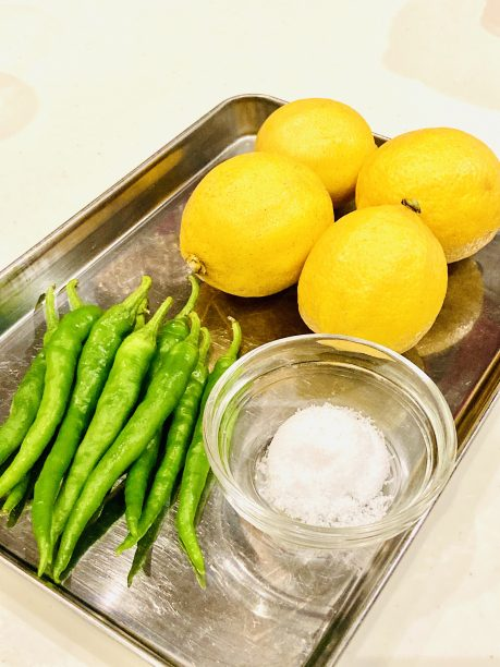 レモン、青唐辛子、粗塩