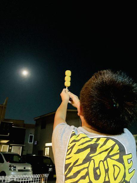 お月見するせんちゃん