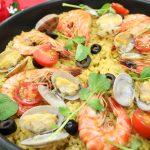 【レシピ:玄米】Xmasにおすすめ☆「シーフードパエリア」玄米に魚介の旨みがたっぷりしみこんで美味しい(≧▽≦)