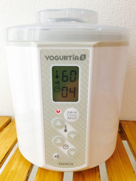 蓋をしヨーグルティアに入れて、設定温度60度、4時間にセットしスタート!